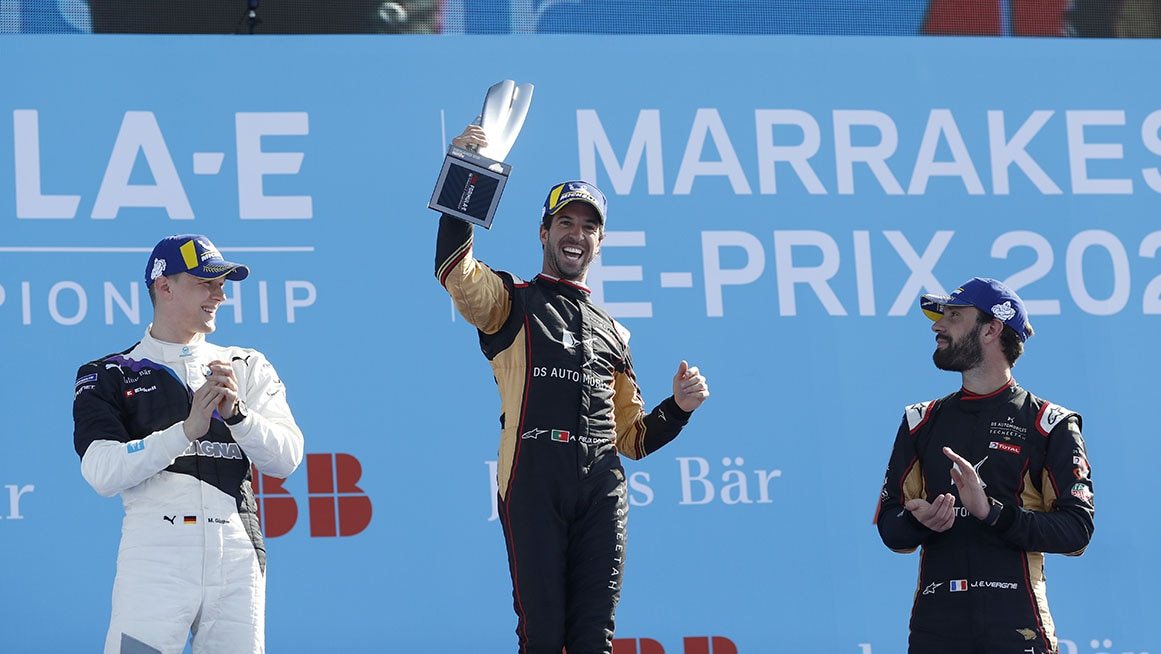CIRCUIT INTERNATIONAL AUTOMOBILE MOULAY EL HASSAN MARRAKESH, MOROCCO - FEBRUARY 29: Race winner Antonio Felix da Costa (PRT), DS Techeetah on the podium with Maximilian Günther (DEU), BMW I Andretti Motorsports, 2nd position, and Jean-Eric Vergne (FRA), DS Techeetah, 3rd position during the Marrakesh E-prix at Circuit International Automobile Moulay El Hassan Marrakesh on February 29, 2020 in Circuit International Automobile Moulay El Hassan Marrakesh, Morocco. (Photo by Alastair Staley / LAT Images)